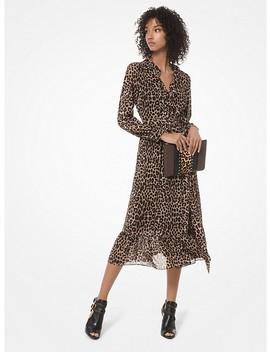 Leopard Georgette Wrap Dress by Michael Michael Kors