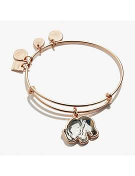 Crystal Elephant Charm Bangle Shiny Rose Gold by Alex And Ani