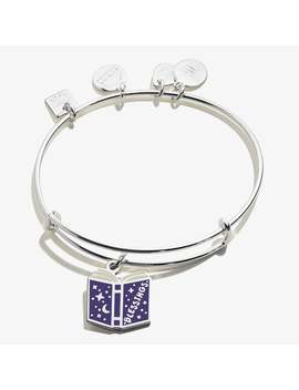 Blessings Book Charm Bangle Shiny Silver Finish by Alex And Ani