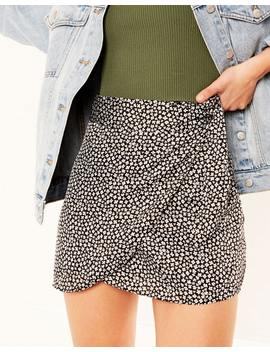Floral Satin Wrap Skirt by Glassons