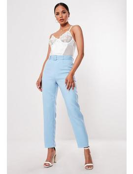 Pantalon Cigarette Bleu Taille Haute by Missguided