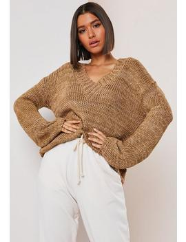 Camel V Neck Wide Sleeve Knitted Jumper by Missguided