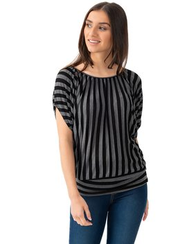 Striped Short Sleeve Tee by Suzy Shier