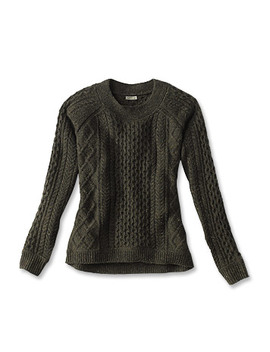 Wool/Cashmere Cable Crewneck Sweater by Orvis