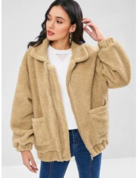 Hot Sale Fluffy Zip Up Winter Teddy Coat   Camel Brown M by Zaful