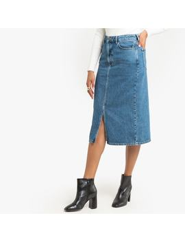 Denim Straight Mid Length Skirt by La Redoute Collections