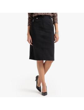 Stretch Cotton Satin Pencil Skirt by Anne Weyburn