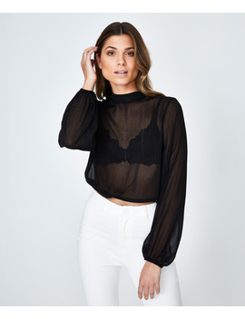 Sheer Spot Metallic Blouse Black by General Pants Co