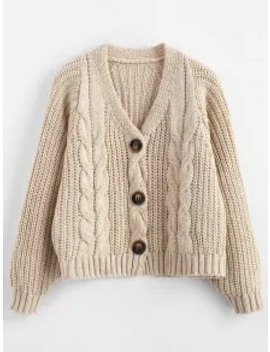 Chunky Button Up Cable Knit Cardigan   Apricot by Zaful