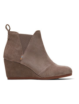 Taupe Gray Suede Women's Kelsey Booties by Toms