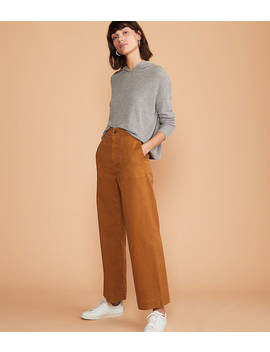 Brushed Twill High Waist Wide Leg Pants by Lou & Grey