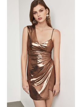 Metallic One Shoulder Sheath Dress by Bcbgmaxazria