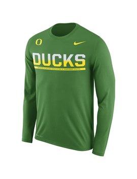 Oregon Ducks Nike Staff Sideline Legend Performance Long Sleeve T Shirt   Apple Green by Nike