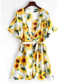 Salezaful Sunflower Belted Beach Cover Up   Multi A by Zaful