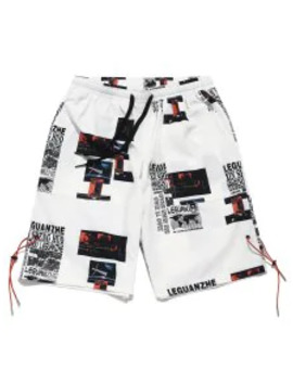 Hot Sale Letter Map Graphic Print Casual Shorts   White S by Zaful