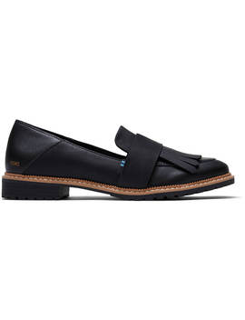Black Leather Women's Mallory Flats by Toms