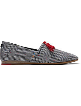 Black Glen Dot Plaid Women's Kelli Flats by Toms