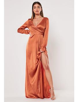 Tall Rust Wrap Front Maxi Dress by Missguided