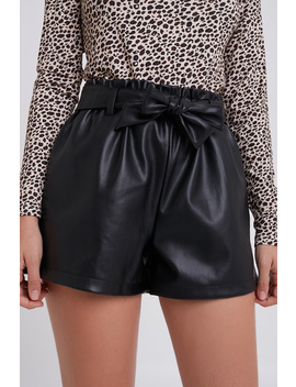 Faux Leather Belted Shorts by Subdued