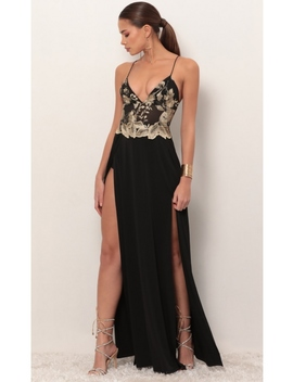 Tulum Gold Embroidered Maxi Dress In Black by Lucy In The Sky