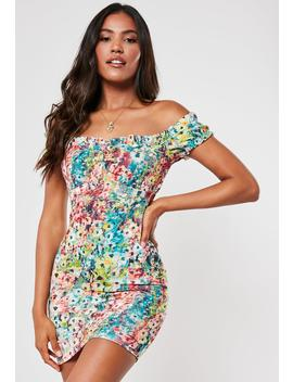 Multi Painted Floral Milkmaid Mini Dress by Missguided