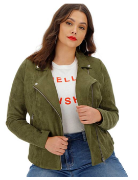 Khaki Suedette Biker Jacket by Simply Be