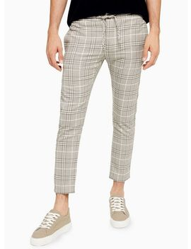 Neutral And Navy Check Trousers by Topman
