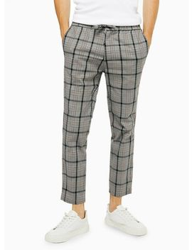 Grey And Burgundy Check Stretch Skinny Trousers by Topman