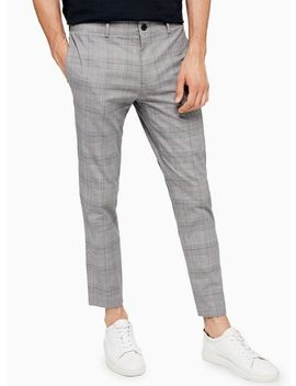 Grey And Pink Check Cropped Trousers by Topman