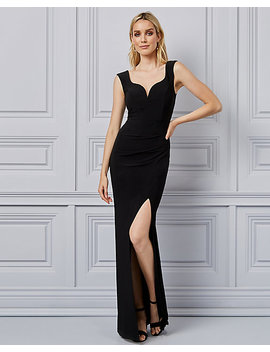 Knit V Neck Cap Sleeve Gown by Le Chateau