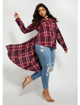 Plaid Button Up Duster by Ashley Stewart