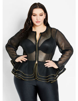 Mesh Peplum Jacket by Ashley Stewart