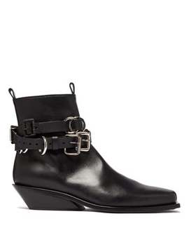 buckled-cuban-heel-leather-boots by ann-demeulemeester