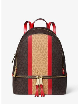 Rhea Medium Striped Logo And Leather Backpack by Michael Michael Kors