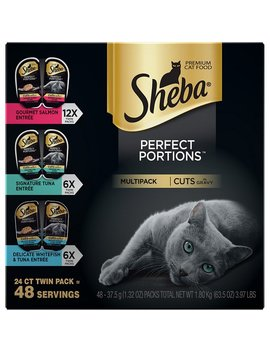 Sheba Perfect Portions Grain Free Multipack Gourmet Salmon, Signature Tuna & Delicate Whitefish & Tuna Cuts In Gravy Cat Food Trays, 2.6 Oz, Case Of 24 Twin Packs by Sheba