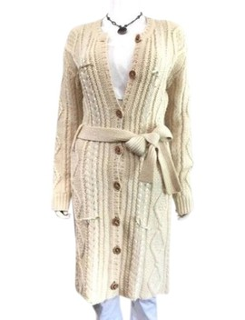 Vintage Cream Cardigan Ribbon Woven Bow Sweater Duster Made In Italy Jacket by Dior