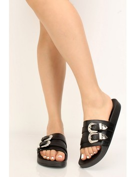 Black Faux Leather Belt Buckle Sandals by Ami Clubwear