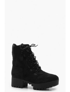 Chunky Zip And Lace Up Hiker Boots by Boohoo
