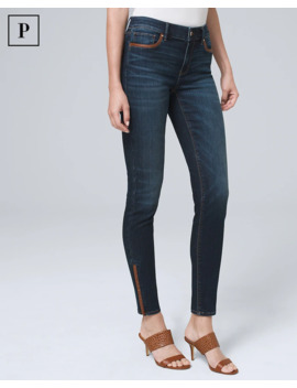 Petite Mid Rise Faux Leather Trim Skinny Ankle Jeans by Whbm