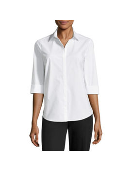 Liz Claiborne 3/4 Sleeve Button Front Shirt by Liz Claiborne