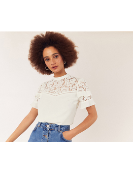Lace Tiered Sleeve Top by Oasis