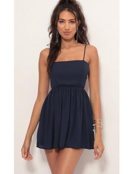 Janey Chiffon A Line Dress In Navy by Lucy In The Sky