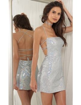 Eli Party Sequin Dress In Silver by Lucy In The Sky