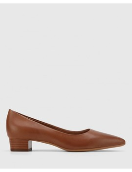 Armin Cognac Leather Pointed Toe Low Block Heel by Wittner