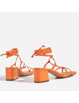 Circe Midi Block Heel Lace Up Heel In Orange Faux Suede by Ego