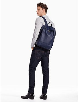 Pebble Essentials Leather Square Backpack by Calvin Klein