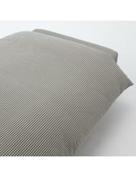 Organic Washed Cotton Duvet Cover Brown Check K 230x210cm by Muji