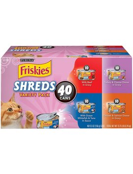 Friskies Shreds In Gravy Variety Pack Canned Cat Food, 5.5 Oz, Case Of 40 by Friskies