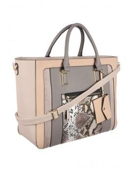 Womens Grey Snake Panel Extra Large Tote Bag by Peacocks