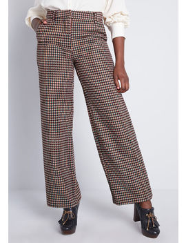 Houndstooth Moment Wide Leg Pants by Modcloth